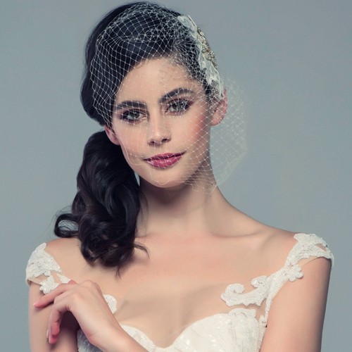 Couture Birdcage Veil - Rose Gold