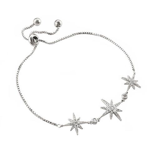 Crystal Starburst Adjustable Bracelet - Silver