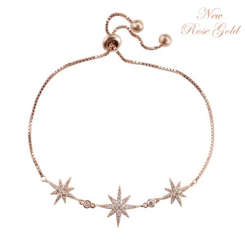 Crystal Starburst Adjustable Bracelet - Rose Gold