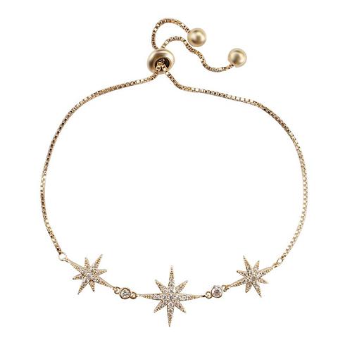 Crystal Starburst Adjustable Bracelet - Gold