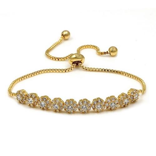Dainty Cubic Zirconia Adjustable Bracelet - Gold