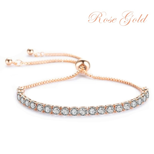 Cubic Zirconia Collection - Crystal Sparkle Bracelet - Rose Gold