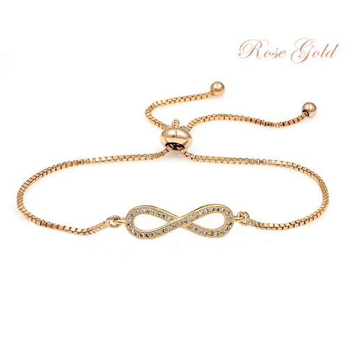 Cubic Zirconia Collection - Adjustable Crystal Infinity Bracelet - Rose Gold