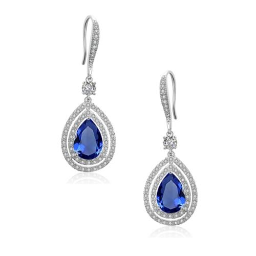 Silver embellished starlet drop sapphire earrings.