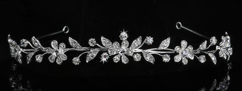 Rhodium plated rhinestone tiara