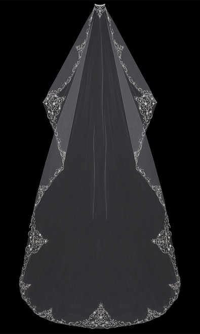 English tulle mantilla cut veil with embroidered and beaded edge.