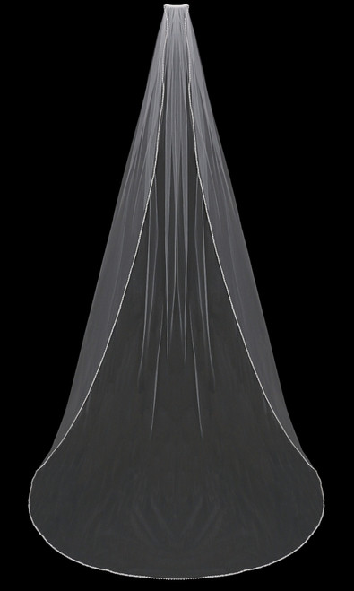 English tulle veil with beaded and pearl edge.