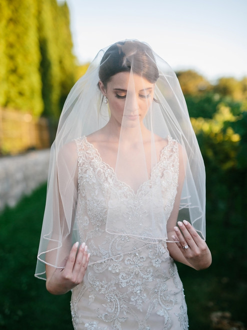 English tulle circle cut veil with mini bugle bead edge