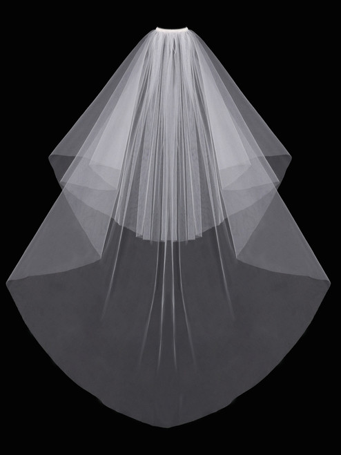 English tulle veil with cut edge