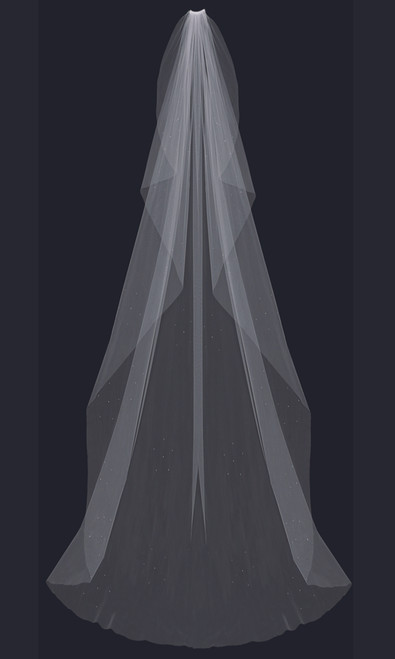English tulle veil with cut edge and scattered rhinestones