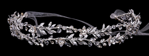 Rhodium plated rhinestone headband with crystal accents and organza ribbon