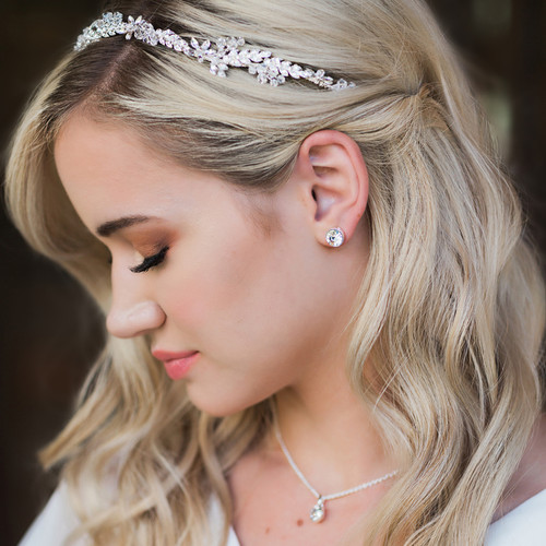 Rhodium plated rhinestone leaf headband with crystal accents