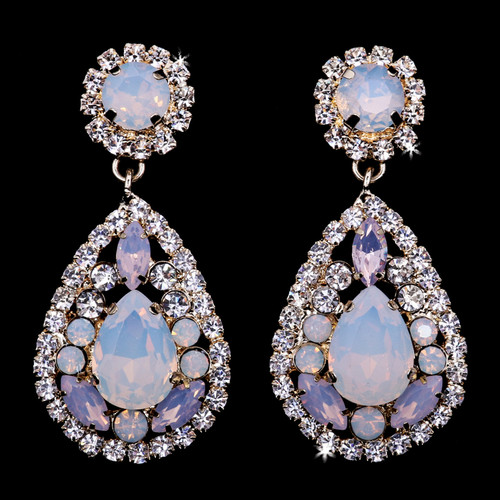 Rhodium plated rhinestone earrings E1970