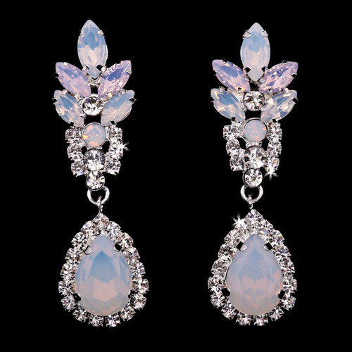Rhodium plated rhinestone earrings E1969