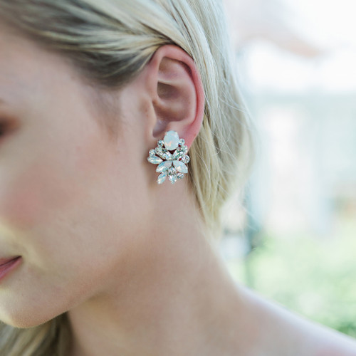 Rhodium plated rhinestone earrings E1964