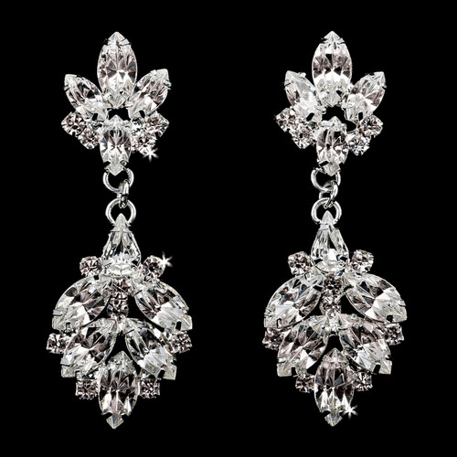 Rhodium plated rhinestone earrings E1873