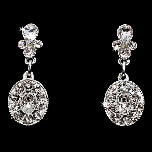 Rhodium plated rhinestone earrings E1868 - silver