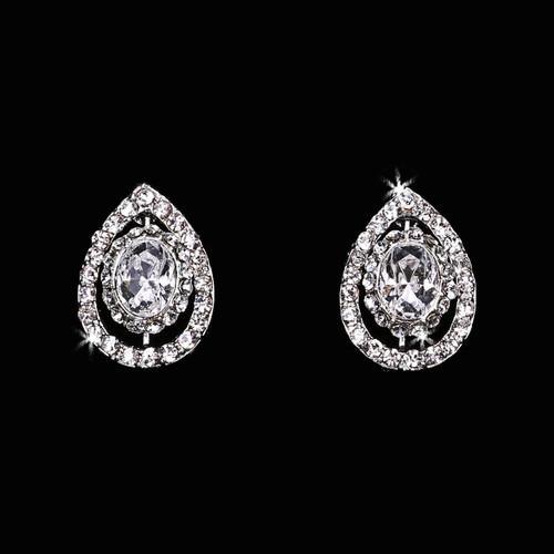 Rhodium plated rhinestone earrings E1665