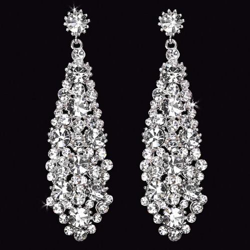 Rhodium plated rhinestone earrings E1562