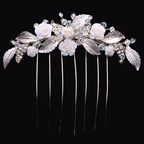 Metal veil comb with porcelain flowers, rhinestone, and crystal accents VC1778