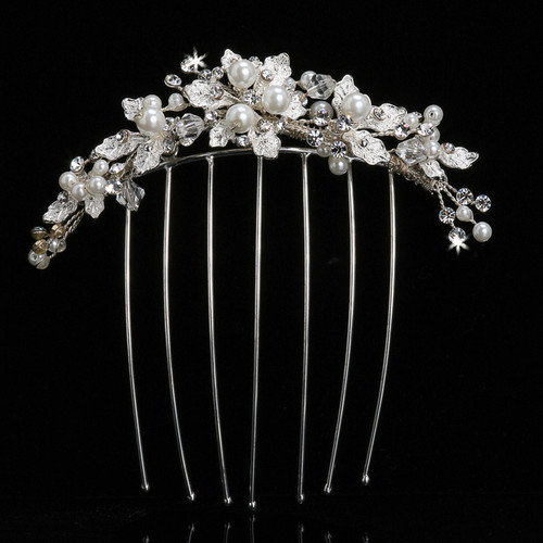 Pearl bead veil comb with crystal and rhinestone accents VC101