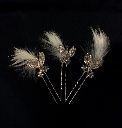 3-Piece Feather Hair Pin Set TRBA57