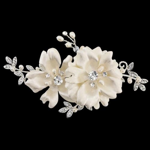 Faye - Vintage Rose Headpiece - Silver
