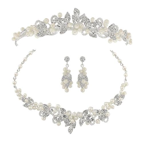 Exquisite Pearl Tiara Set - Ivory