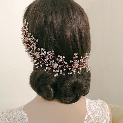 Crystal Shimmer Hair Vine - HP137 Rose Gold