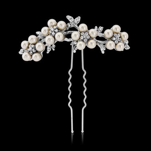 Elite Collection - Crystal & Pearl Daisy Hair Pin