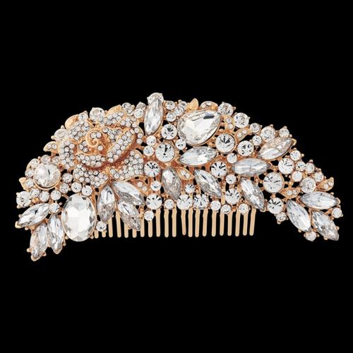 Exquisite Bridal Hair Comb - Rose Gold