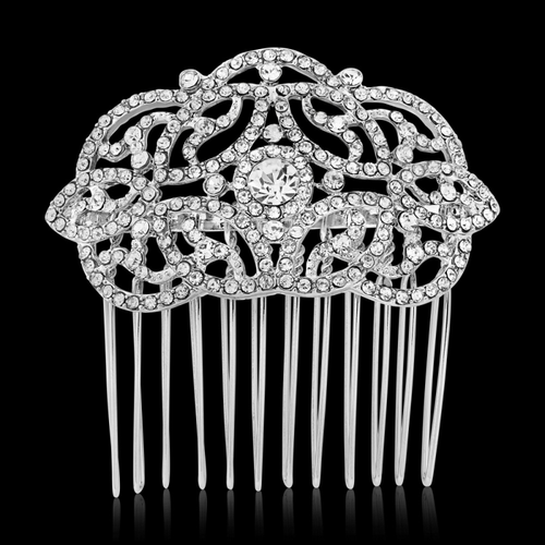 Crystal Chic Hair Comb - Silver