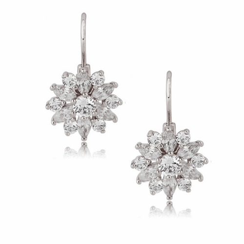 Cubic Zirconia - Crystal Sparkle Earrings - Silver