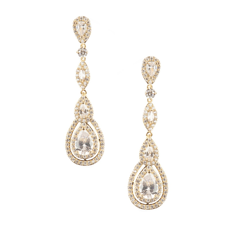 Cubic Zirconia Collection - Starlet Sparkle Earrings - Gold