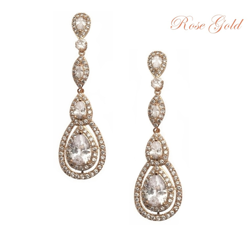 Cubic Zirconia Collection - Starlet Sparkle Earrings - Rose Gold