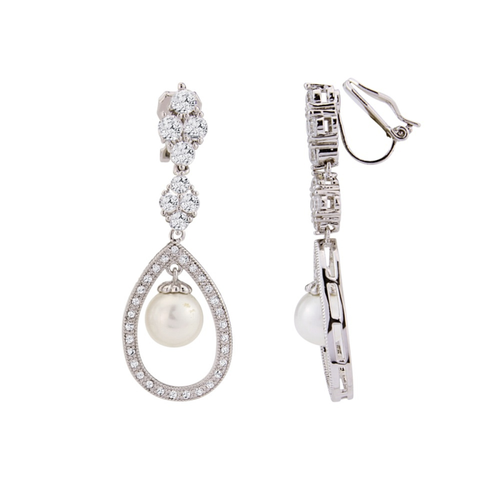 Cubic Zirconia Collection - Clip-On Simply Divine Earrings
