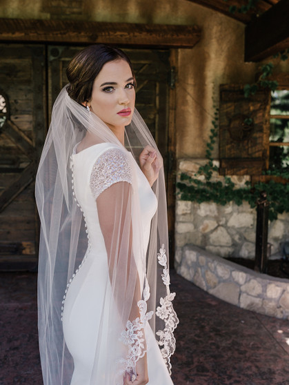 English tulle with beaded lace