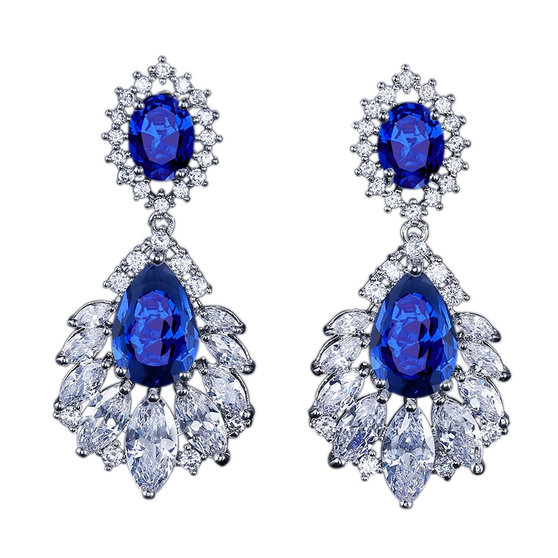 Embellished with sapphire sparkly crystals on a silver finish.