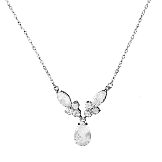 embellished with clear cubic zirconia crystals on a high quality silver finish.