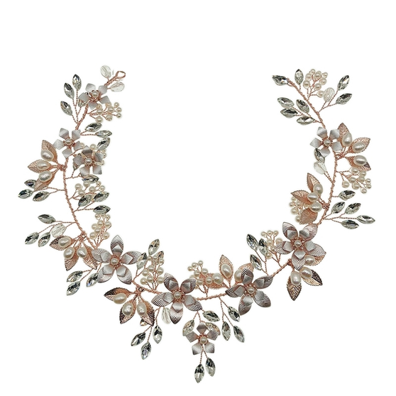 Exquisite hair vine embellished with freshwater pearls and clear crystals hand wired to hand painted rose gold flowers. Complete with satin ribbon and hoops on either side.