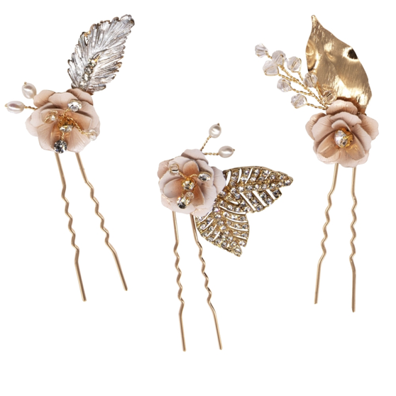 Three luxe embellished pins with pink blush flowers and hand painted gold leaves on a gold finish.