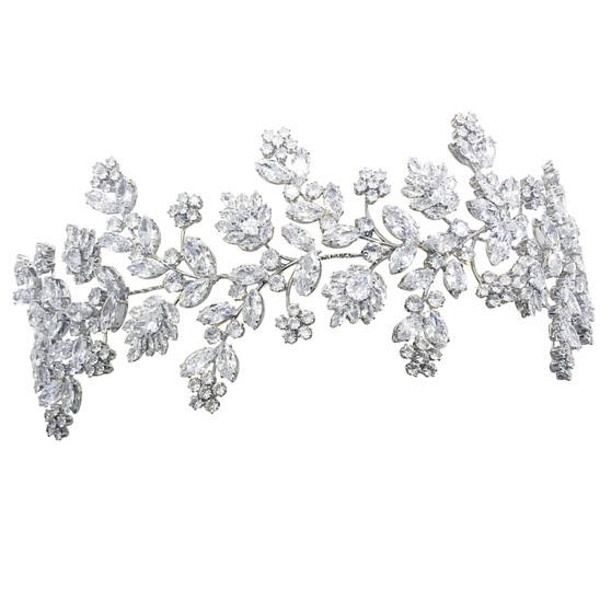 Headpiece embellished with high quality cubic zirconia crystals.