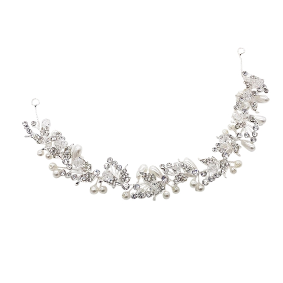Exquisite embellished hair vine - with simulated ivory pearls and high quality clear crystals on a sparkly silver vine. Size is approx 28cm