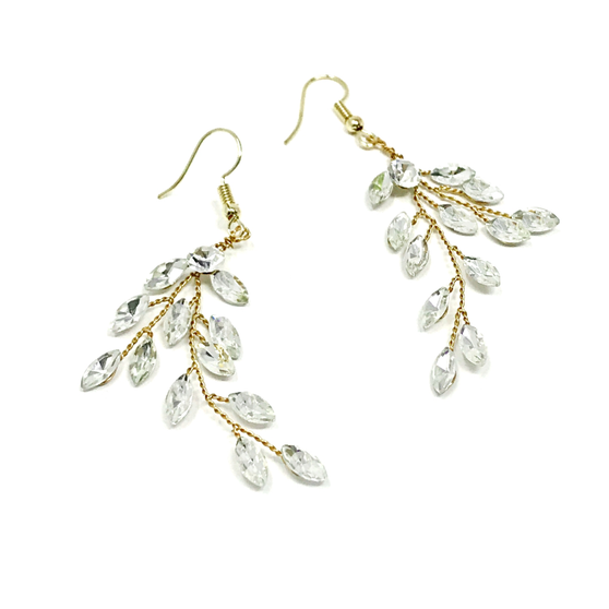Glitzy crystal vine earrings - embellished with clear teardrop glass crystals on a gold vine.