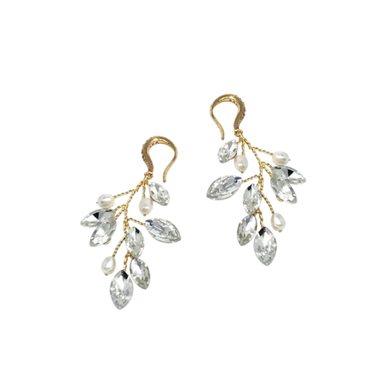 Glitzy Pearl vine earrings - embellished with clear teardrop glass crystals and freshwater pearls on a silver vine.
