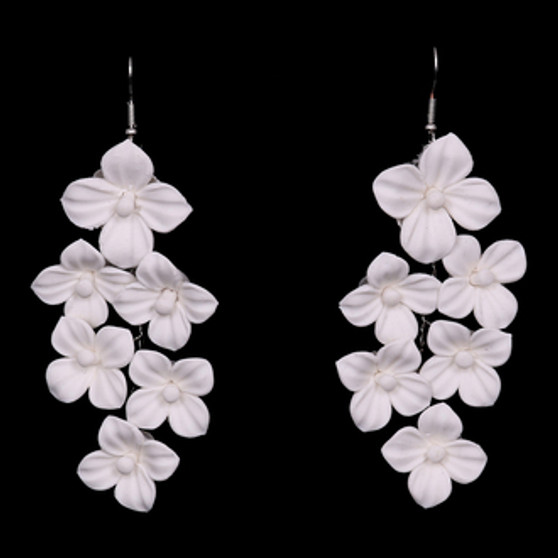Ivory fabric flower earrings