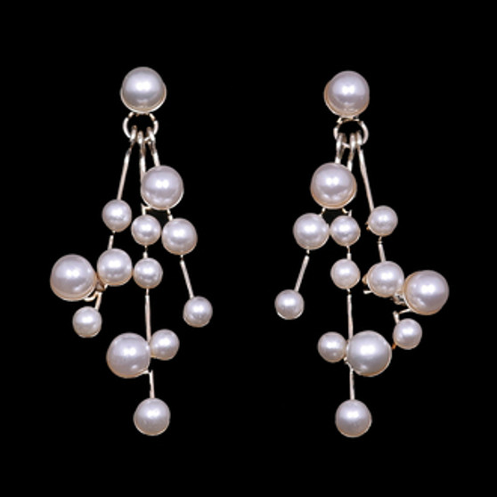 Rhodium plated pearl bead earrings