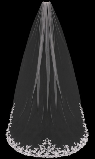 English tulle cathedral veil with lace bottom edge