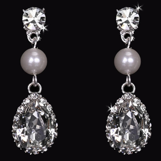 Rhodium plated rhinestone and pearl bead earrings E1767