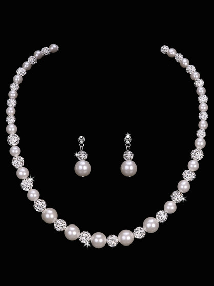 Pearl bead and fireball necklace with matching earrings NL1653
